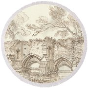 The Old Double Bridge, Bury St. Edmunds Round Beach Towel