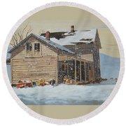 the Old Farm House Round Beach Towel by Len Stomski