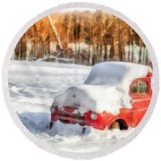 The Old Farm Truck In The Snow Round Beach Towel