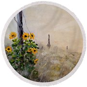 Round Beach Towel featuring the painting The Old Fence by Alan Lakin