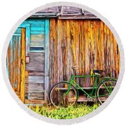 Round Beach Towel featuring the painting The Old Green Bicycle by Edward Fielding