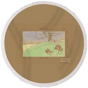 The Old Gully Tree Round Beach Towel