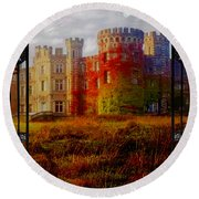 The Old Haunted Castle Round Beach Towel
