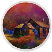 The Old Homestead Round Beach Towel