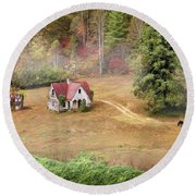 The Old Homestead Round Beach Towel by Lori Deiter