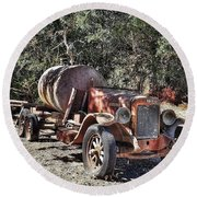The Old Jalopy In Wine Country, California  Round Beach Towel