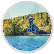 The Old Light House Round Beach Towel