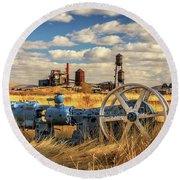 The Old Lumber Mill Round Beach Towel by James Eddy