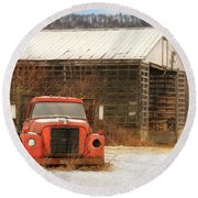 Round Beach Towel featuring the photograph The Old Lumber Truck by Lori Deiter
