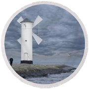 the old man at Stawa Mlyny Round Beach Towel