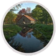 Round Beach Towel featuring the photograph The Old Mill by Stephen Flint