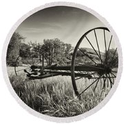 The Old Mower 2 In Black And White Round Beach Towel