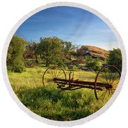 The Old Mower 1 Round Beach Towel by Endre Balogh