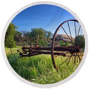 The Old Mower 2 Round Beach Towel by Endre Balogh