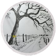 Round Beach Towel featuring the painting The Old Oak Tree by Jack G Brauer