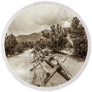 Round Beach Towel featuring the photograph The Old Path by Marilyn Hunt