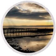 The Old Pier In Culross, Scotland Round Beach Towel
