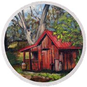 The Old Pig Barn Round Beach Towel