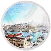 The Old Port Of Marseille  2 Round Beach Towel