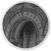 Round Beach Towel featuring the photograph The Old Post Office Sign Now Trump International Hotel In Washington D.c.  - Black And White by Marianna Mills