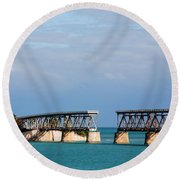 The Old Railroad To The Keys Round Beach Towel