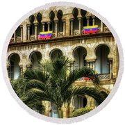 The Old Railway Station Round Beach Towel