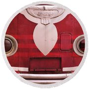 Round Beach Towel featuring the photograph The Old Red Bus by Heidi Hermes