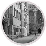 Round Beach Towel featuring the photograph The Old Schools University Offices Cambridge by Gill Billington