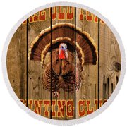 The Old Tom Hunting Club No. 3 Round Beach Towel by TL Mair