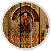 The Old Tom Hunting Club Round Beach Towel by TL Mair
