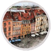 Old Town In Warsaw # 20 Round Beach Towel