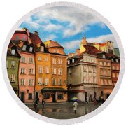 Old Town In Warsaw # 23 Round Beach Towel
