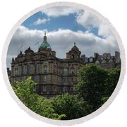 Round Beach Towel featuring the photograph The Old Town In Edinburgh by Jeremy Lavender Photography