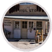 Old Vigil Store In Chimayo Round Beach Towel