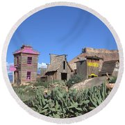 The Old Western Town  Round Beach Towel