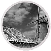The Old Windmill Round Beach Towel