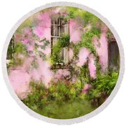 The Olde Pink House In Savannah Georgia Round Beach Towel