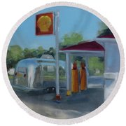 The Oldest Gas Station On Route 66 Round Beach Towel