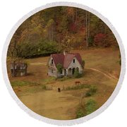Round Beach Towel featuring the digital art The Oldest House In North Carolina by Sharon Batdorf