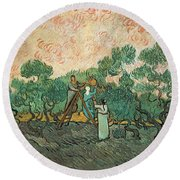 The Olive Pickers Round Beach Towel by Vincent van Gogh