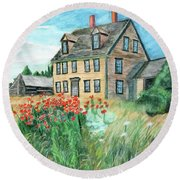 The Olson House With Poppies Round Beach Towel