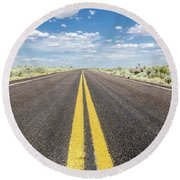 Round Beach Towel featuring the photograph The Open Road by Margaret Pitcher