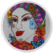 The Opera Singer Round Beach Towel