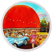 The Orange Julep Montreal Round Beach Towel