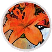 The Orange Lilies In The Mother Of Pearl Vase Round Beach Towel