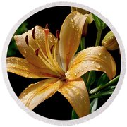 The Orange Lily Round Beach Towel