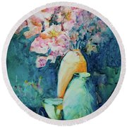 The Orange Vase Round Beach Towel