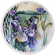 Round Beach Towel featuring the painting The Orchid Fairy by Mindy Newman