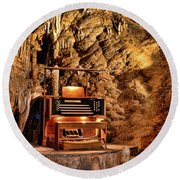 Round Beach Towel featuring the photograph The Organ In Luray Caverns by Paul Ward