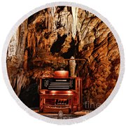 Round Beach Towel featuring the photograph The Organ In The Cavern by Paul Ward